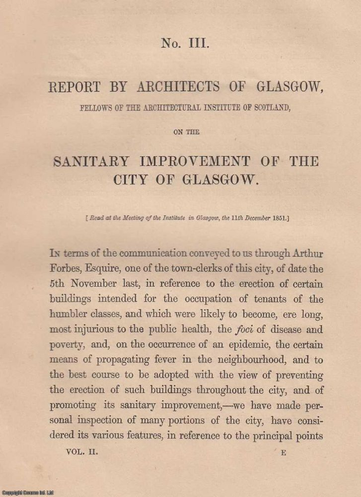 [1852] The Sanitary Improvement of the City of Glasgow. With a plate. Architects of Glasgow.