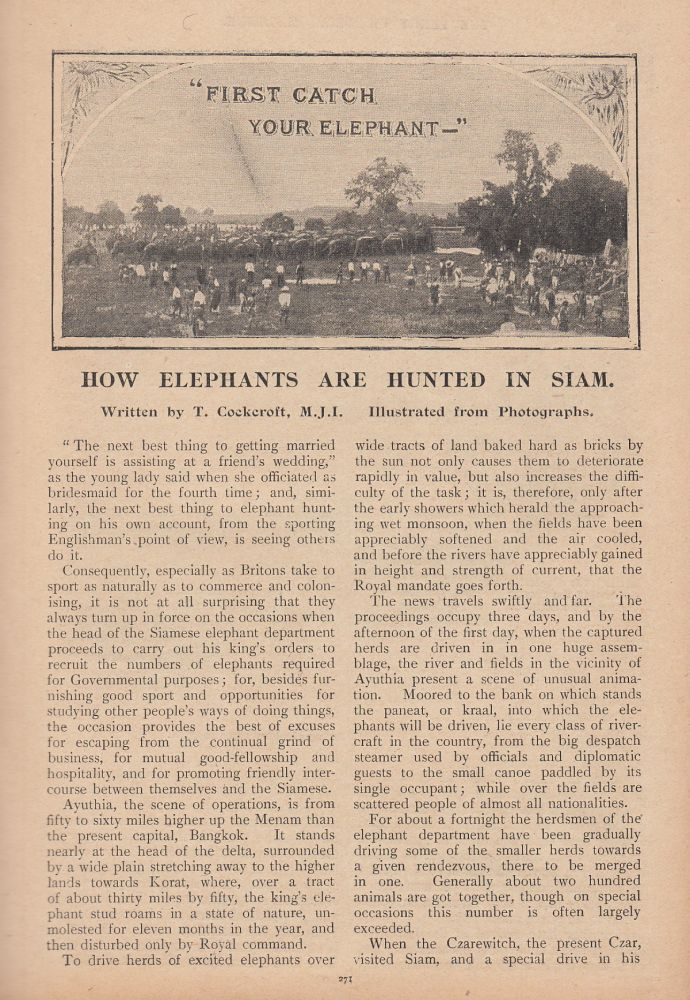 How Elephants are Hunted in Siam. Illustrated from photographs. This is an original article from the Penny Pictorial Magazine, 1899. Cockcroft T.