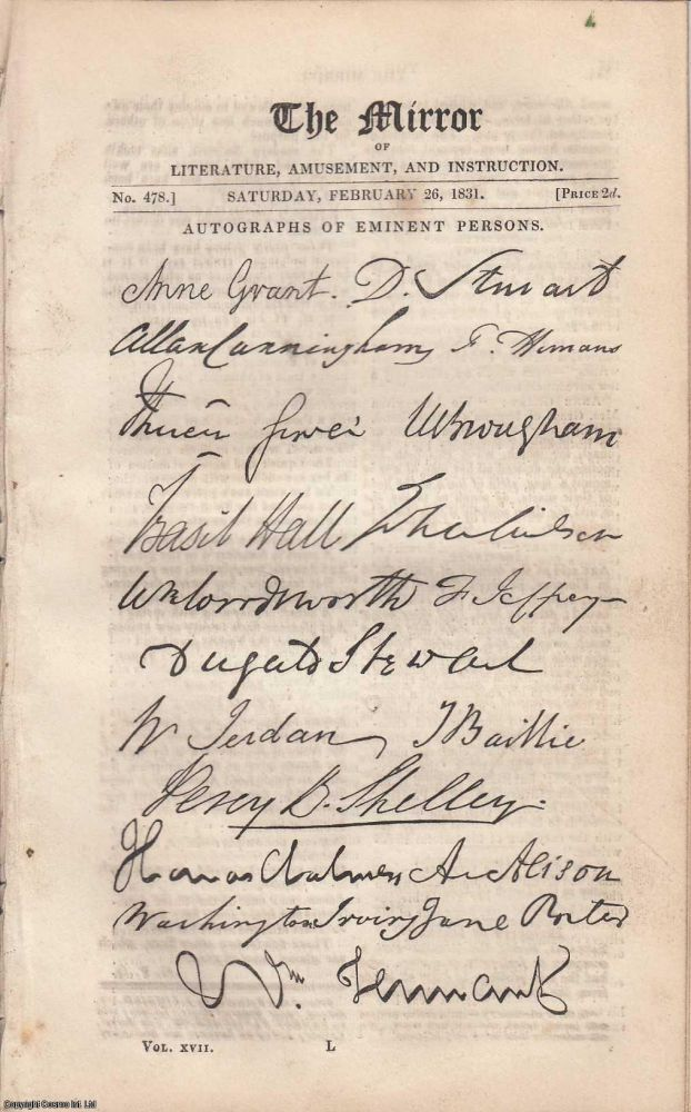 Autographs of Eminent Persons, with explanatory text. In a complete issue of The Mirror, 1831. Amusement The Mirror of Literature, Instruction.