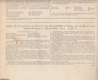 THE MURDER OF SIR THOMAS OVERBURY. 8 trial reports. The Trial of Richard Weston at The Guild Hall...