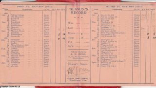 King's Heath Rugby Football Club, Season 1930-31. Fixtures list and membership card.