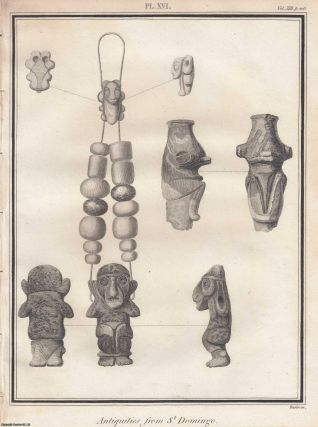 Antiquities from St. Domingo. 1800. A single page print, 8 x 11 inches