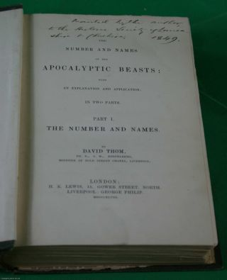 [1848] The Number and Names of the Apocalyptic Beasts: with an Explanation and Application. In Two Parts. Book One: The Number and Names. Book Two: The Names of The Beasts. Author's presentation copy.
