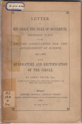 1867 Squaring the Circle Pamphlet] On the Quadrature and Rectification of the Circle. Letter to...