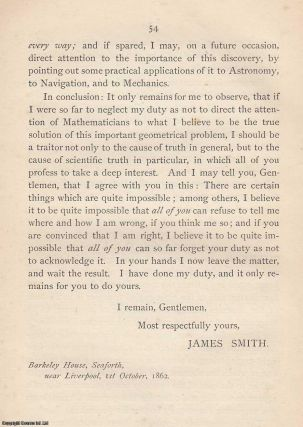 [1862 Squaring the Circle Pamphlet] Letter Addressed to the President and Vice-Presidents of the British Association for the Advancement of Science, at its 32nd Annual Meeting, Held in Cambridge, in 1862.