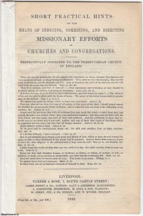 1842] Short Practical Hints on the Means of Inducing, Combining, and Directing Missionary Efforts...
