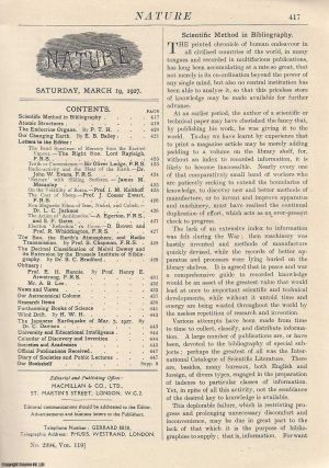 Nature, Volume 119, Number 2994. Nature, A Weekly Journal of Science. Saturday, March 19th, 1927....