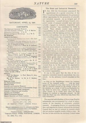 Nature, Volume 119, Number 2999. Nature, A Weekly Journal of Science. Saturday, April 23rd, 1927....