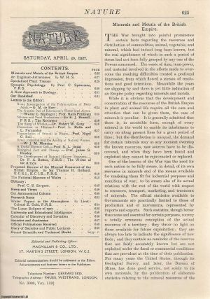 Nature, Volume 119, Number 3000. Nature, A Weekly Journal of Science. Saturday, April 30th, 1927....