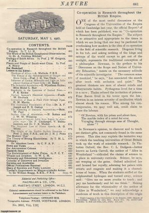 Nature, Volume 119, Number 3001. Nature, A Weekly Journal of Science. Saturday, May 7th, 1927....