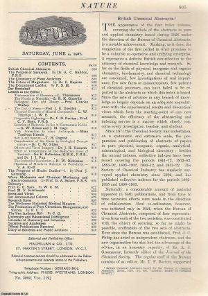 Nature, Volume 119, Number 3005. Nature, A Weekly Journal of Science. Saturday, June 4th, 1927....