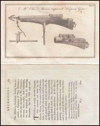 Taking Whales by Use of the Gun Harpoon. A collection of 10 articles, published from 1778 to 1800, with detailed individual accounts of whales killed. With plates and woodcuts. From the Society for The Encouragement of Arts, Manufactures, and Commerce.