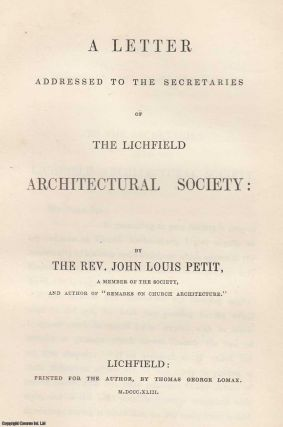 1843, A Letter Addressed to the Secretaries of the Lichfield Architectural Society. With an original curious drawing (11 x 19 cms) sewn in.