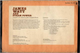 James Watt and Steam Power. Jackdaw 13. Facsimile documents, letters, and posters.